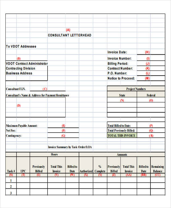 business consulting invoice