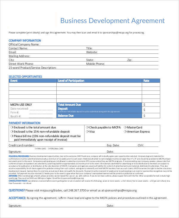 Development Contract Template  Free Documents In Pdf Word