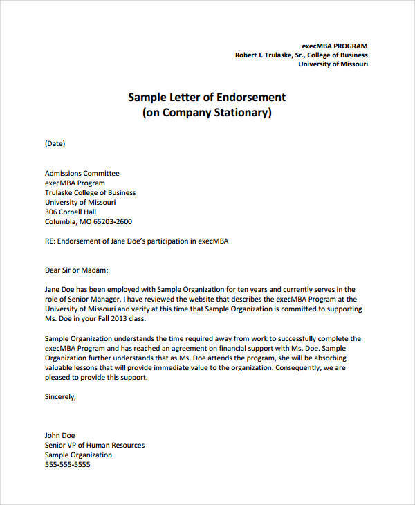 business endorsement letter sample