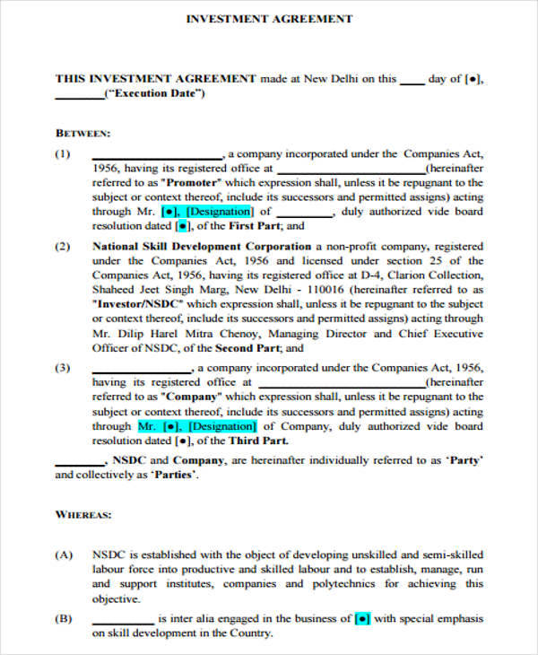 Investment Agreements Samples  Templates In Pdf