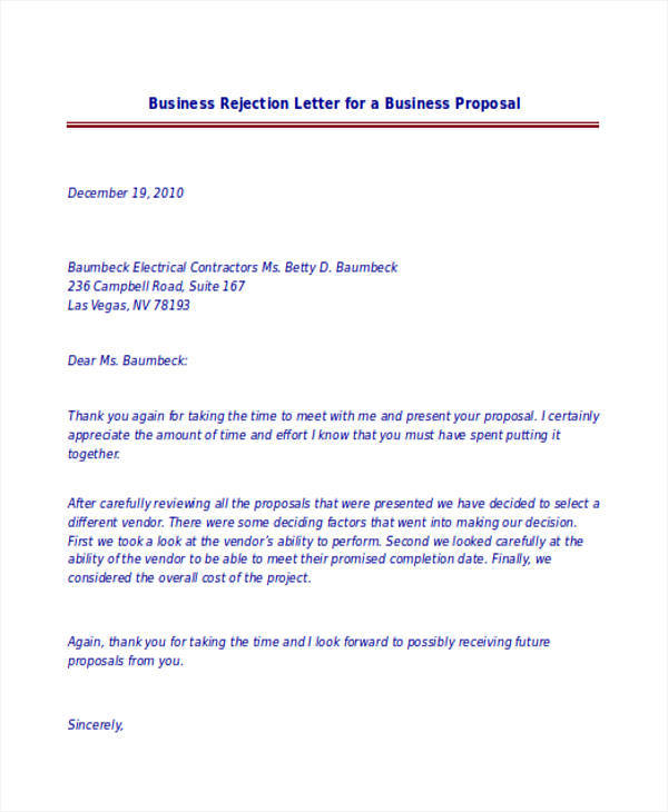 business letter rejection