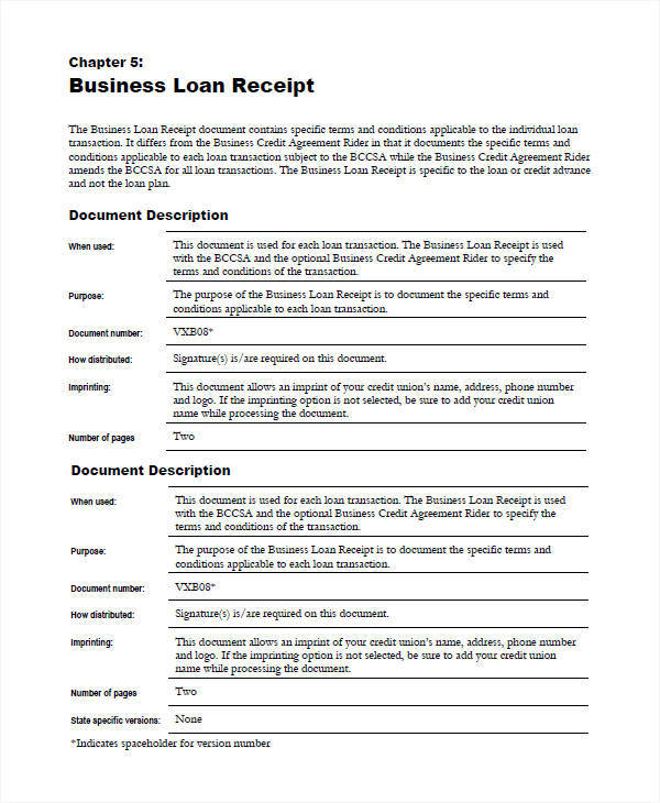 business loan receipt