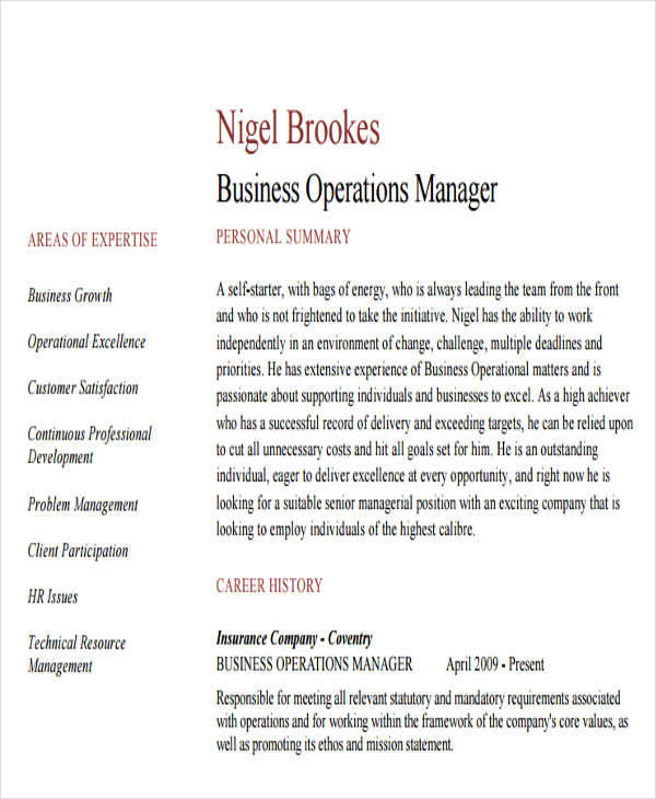 Business Operations Manager Resume Dayjob  Business Operations