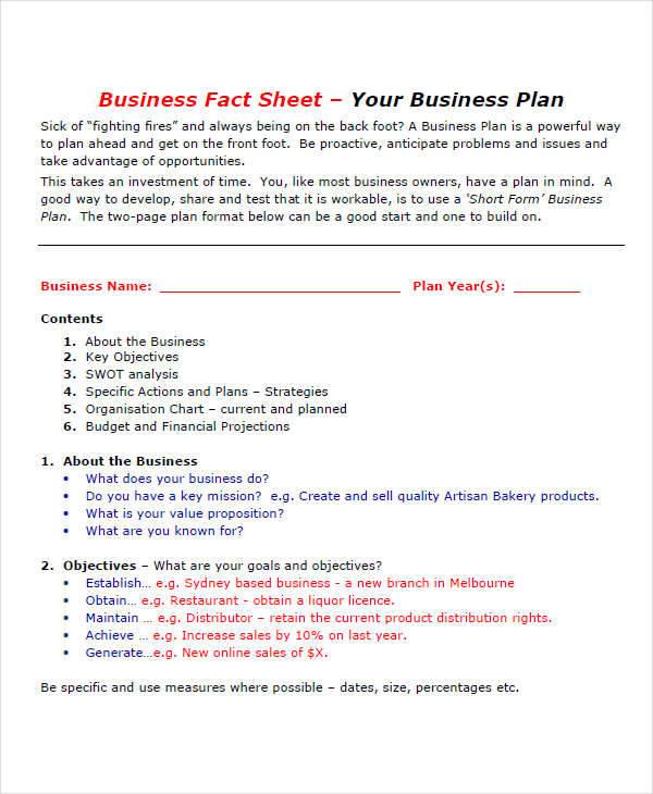 business plan sheet1