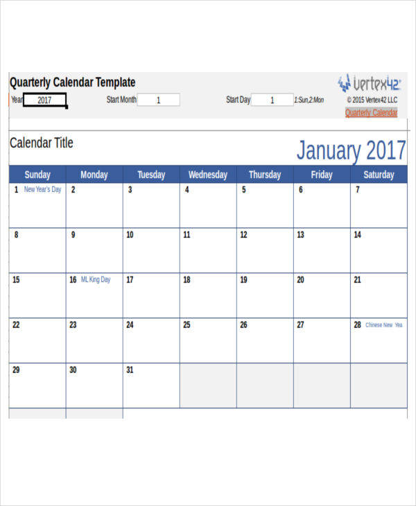 Calendar Templates In Excel