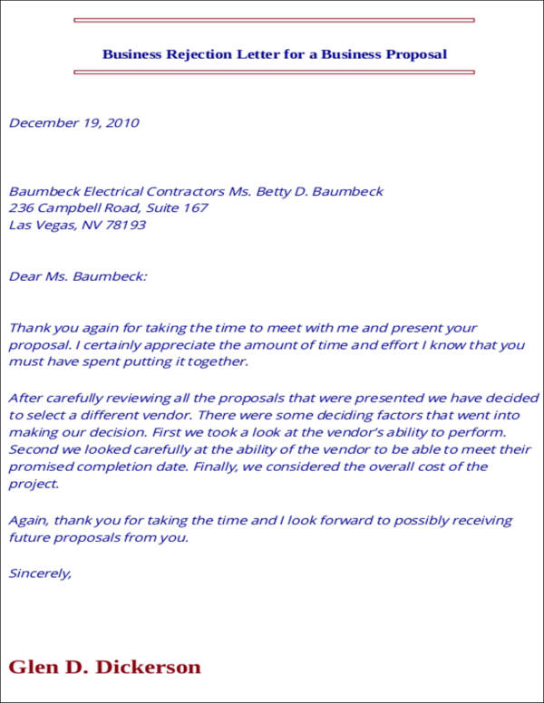 business rejection letter for a business proposal