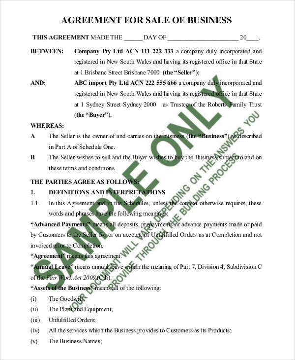 Business Sale Contract Agreement