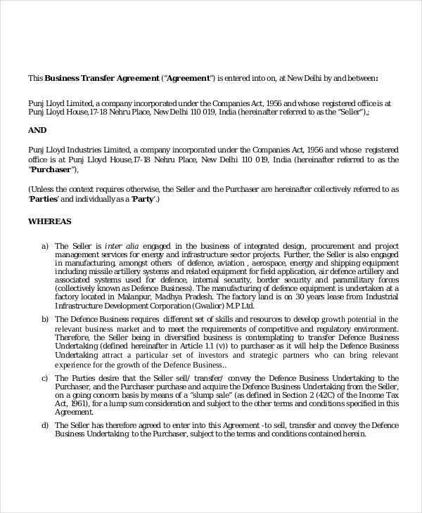 8+ Transfer Agreement - Free Sample, Example , Format Download