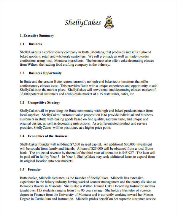 cake bakery business plan