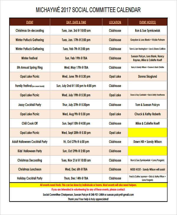 calendar for social event1