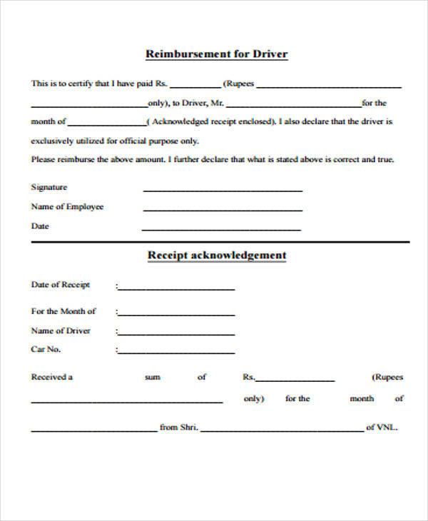 car driver payment receipt