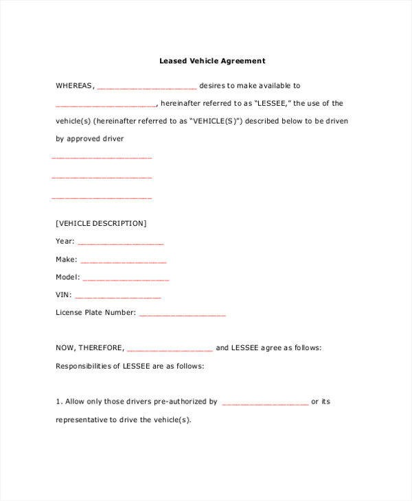 10 lease contract template free sample example format for Vehicle sublease agreement template