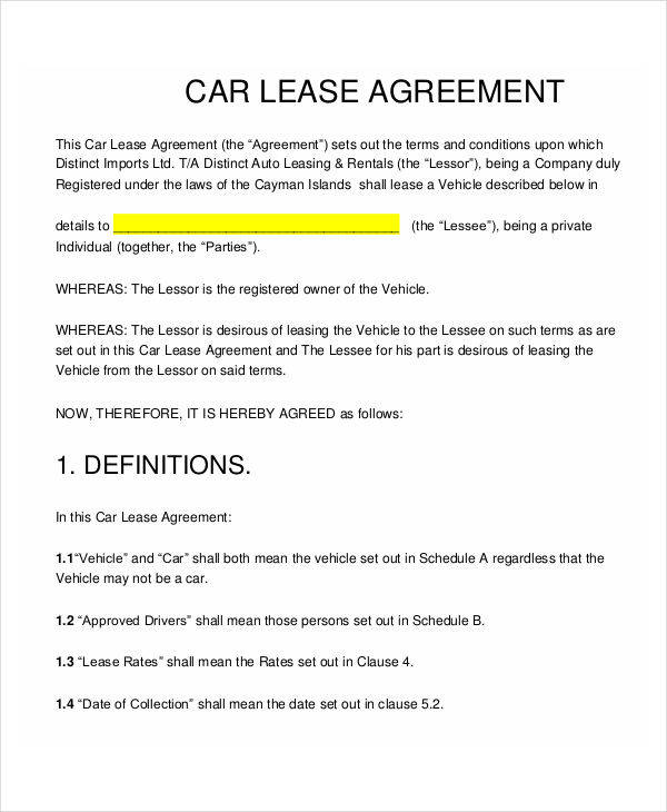 Lease Contract Templates  Free Sample Example Format Download
