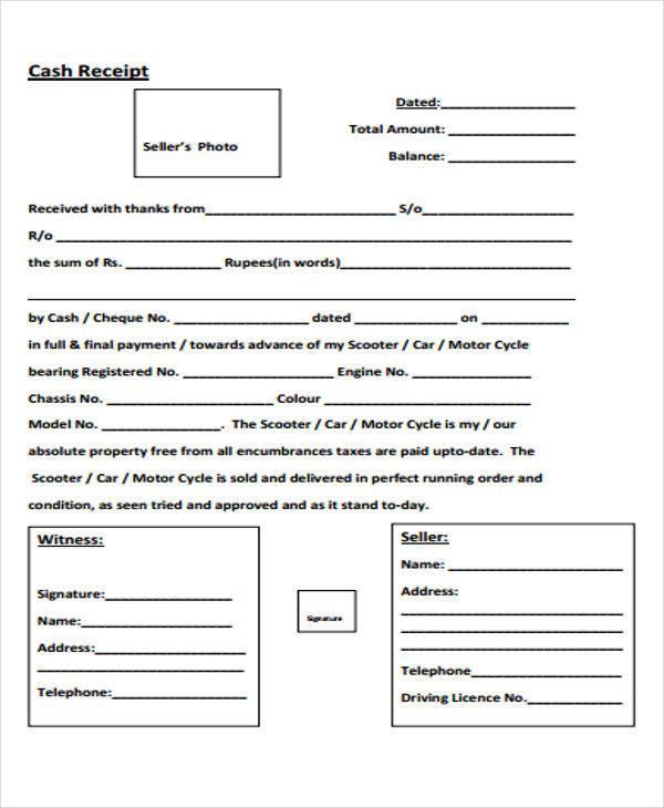 car payment receipt format1