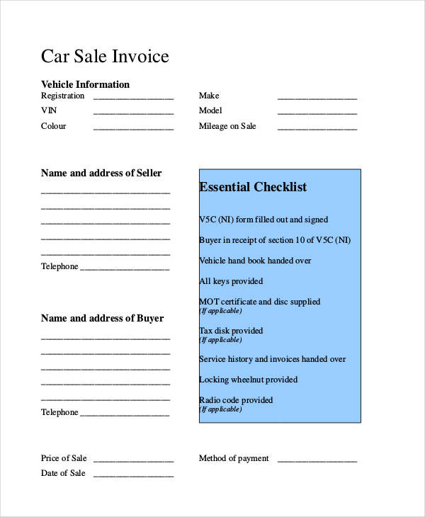 car purchase invoice template