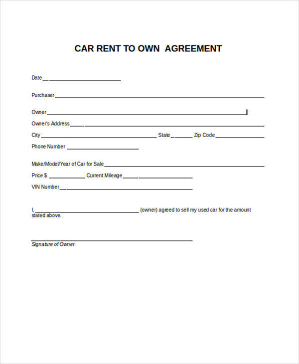 RentToOwn Contract Sample  Free Sample Example Format Download