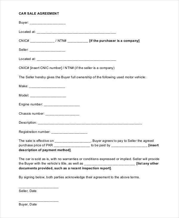 sales agreement contract