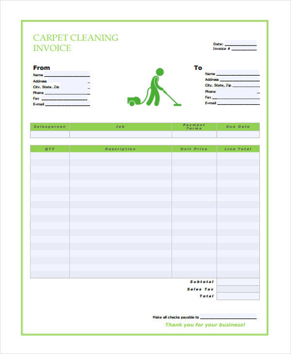 carpet cleaning service invoice