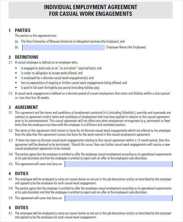 Casual Employment Contract Template Labour Contract Templates