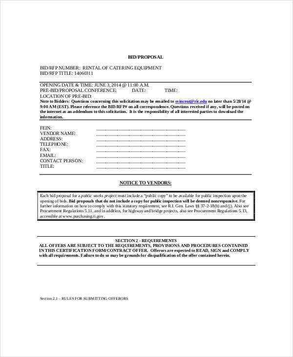 catering bid proposal