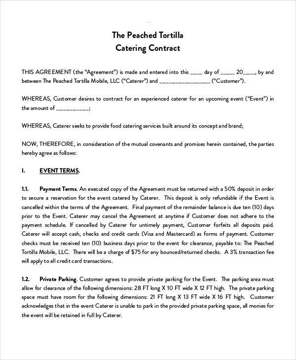 Catering Contract Templates  Free Sample Example Format Download