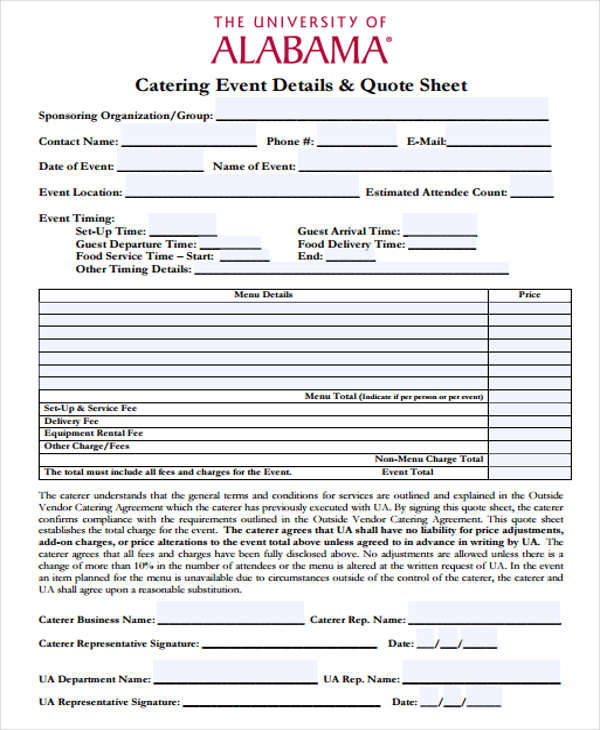 Catering Quotations  Free Sample Example Format Download