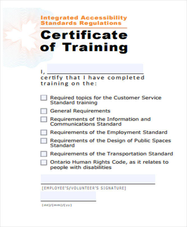 certificate for employe training
