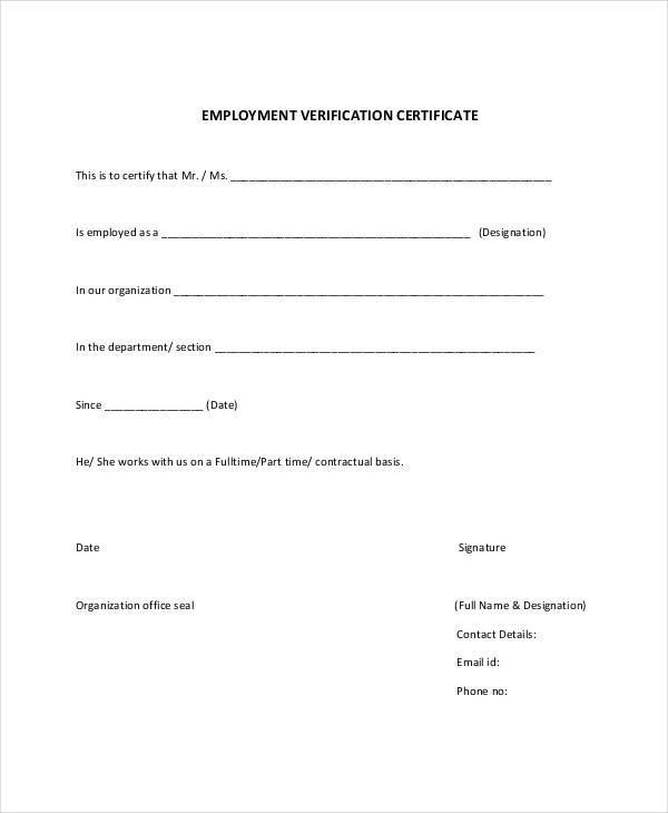 certificate for employment verification