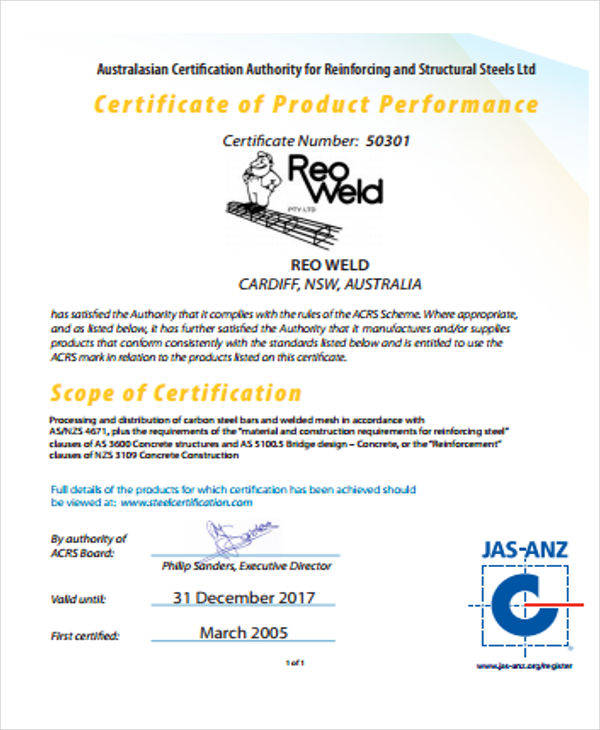 certificate for product performance