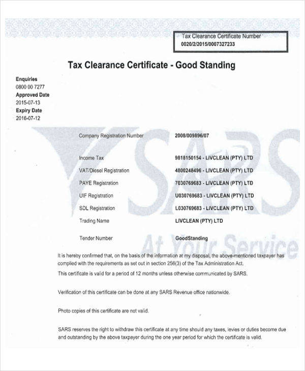 certificate for tax clearance