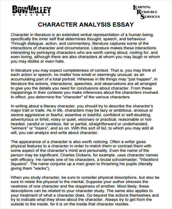Character Analysis  Free Sample Example Format Download