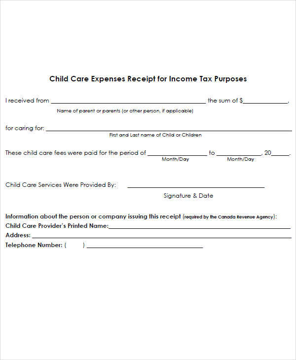 proof of child care expenses letter