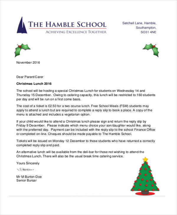 christmas lunch invitation letter