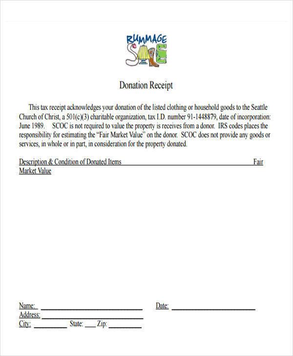 church donation receipt
