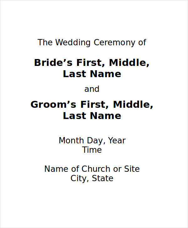 Wedding Program  Free Sample Example Format Download