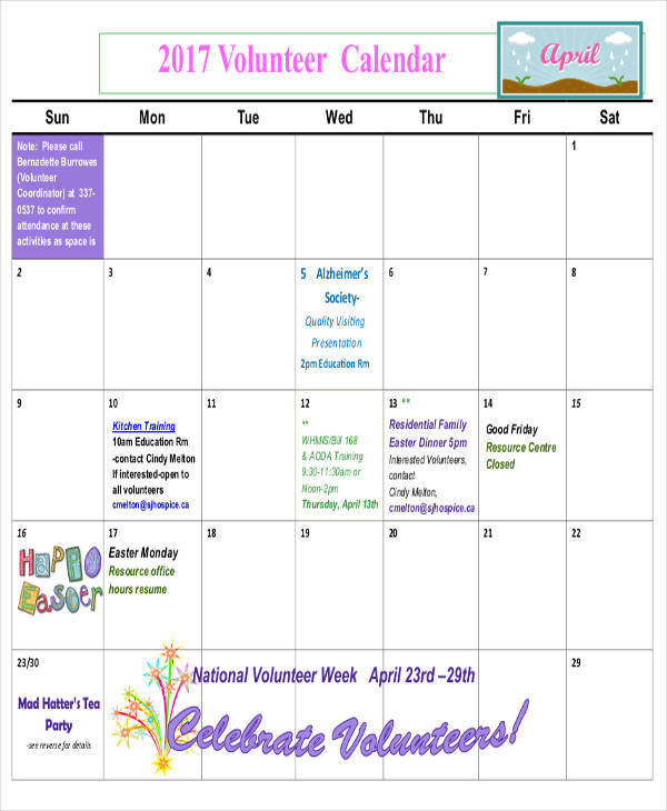 classroom volunteer calendar