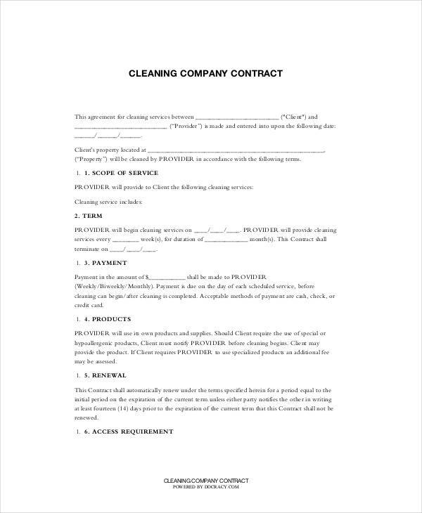 Cleaning Contract Template  Free Sample Example Format Download