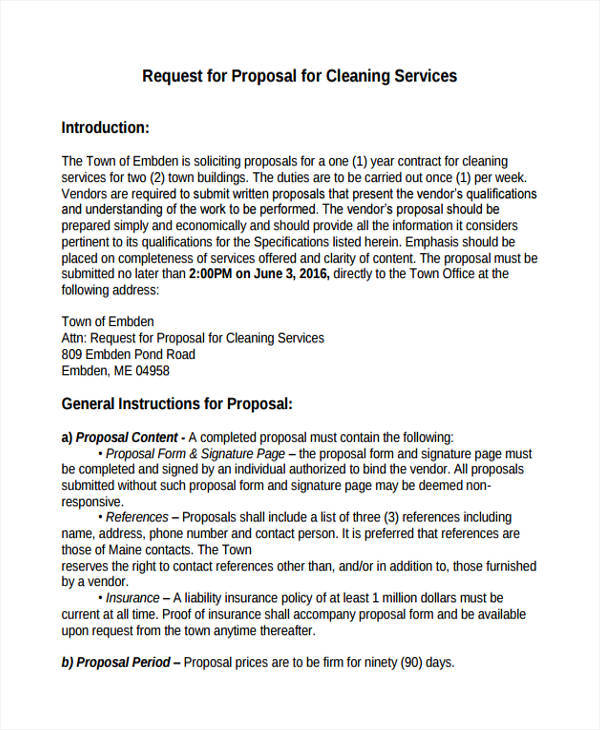 cleaning request for proposal