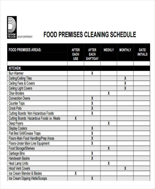 cleaning schedule chart1