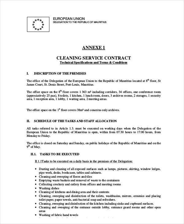 6+ Cleaning Contract Template – Free Sample, Example, Format Download
