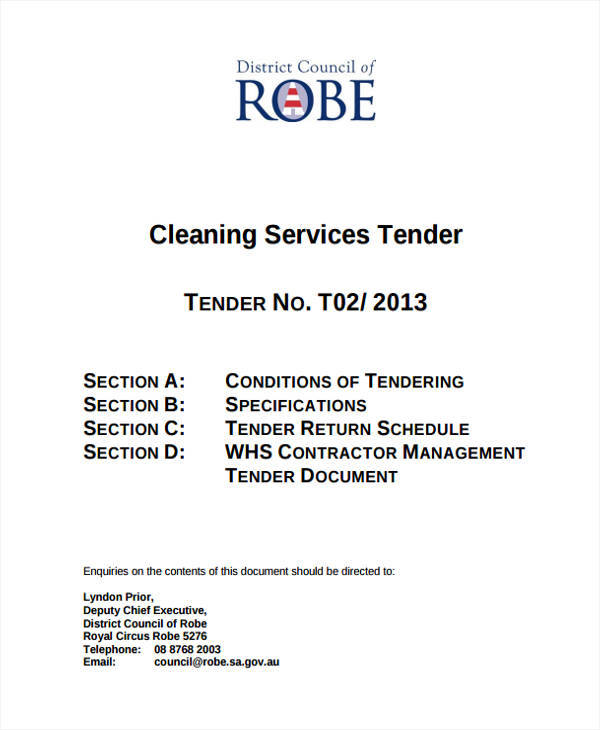 cleaning tender proposal