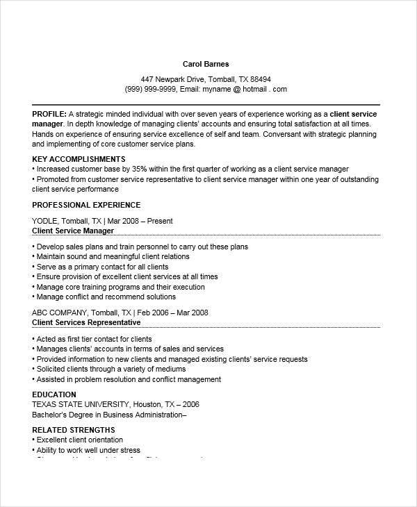 client service manager