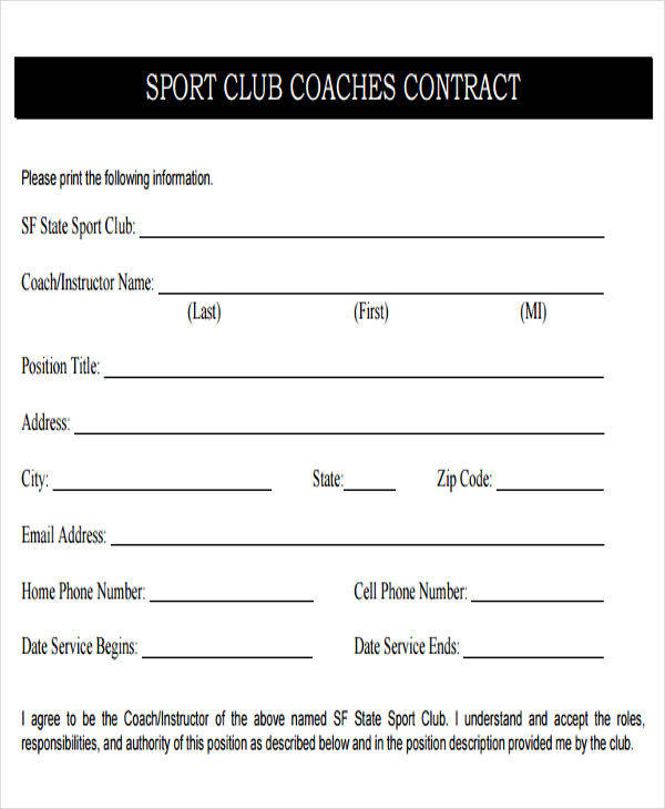 45 sample contract templates sample templates for Coaching contracts templates