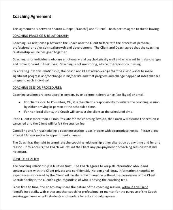 5 Coaching Contract Samples Templates Sample Templates