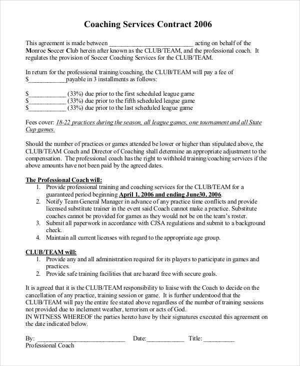 Coaching Contract Templates  Free Sample Example Format Download