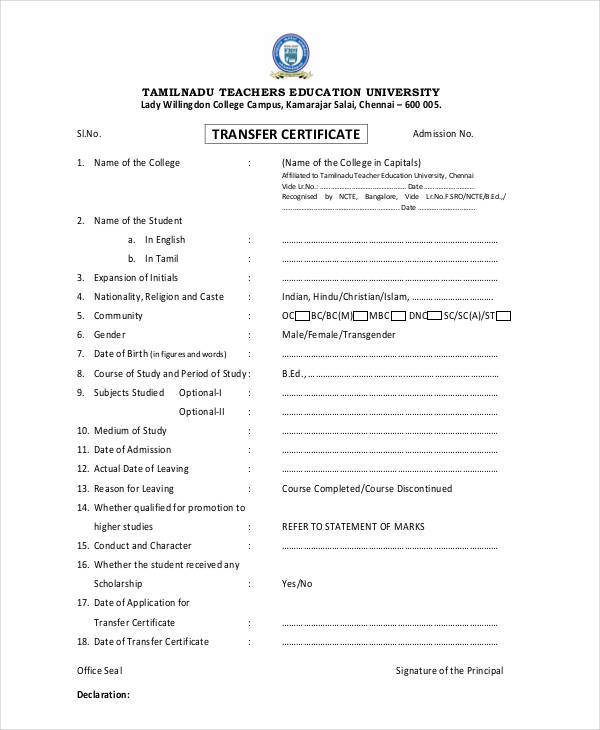 27 certificate formats college transfer certificate yadclub Choice Image