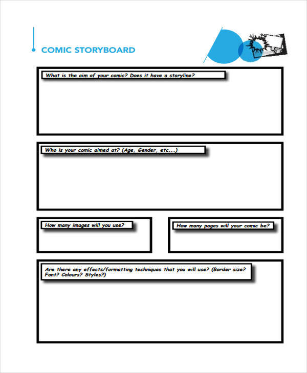 Comic Storyboard  Examples In Word Pdf