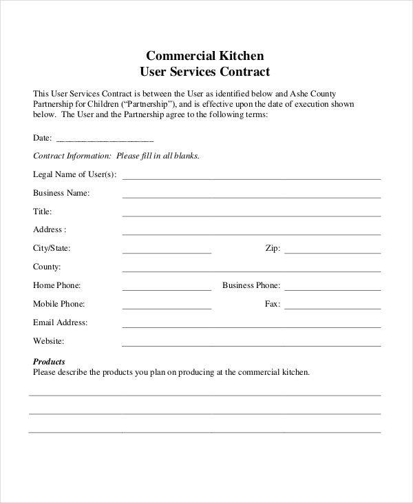 commercial catering contract