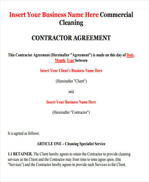 Cleaning Contract Agreement  General Contract Agreement  Sales