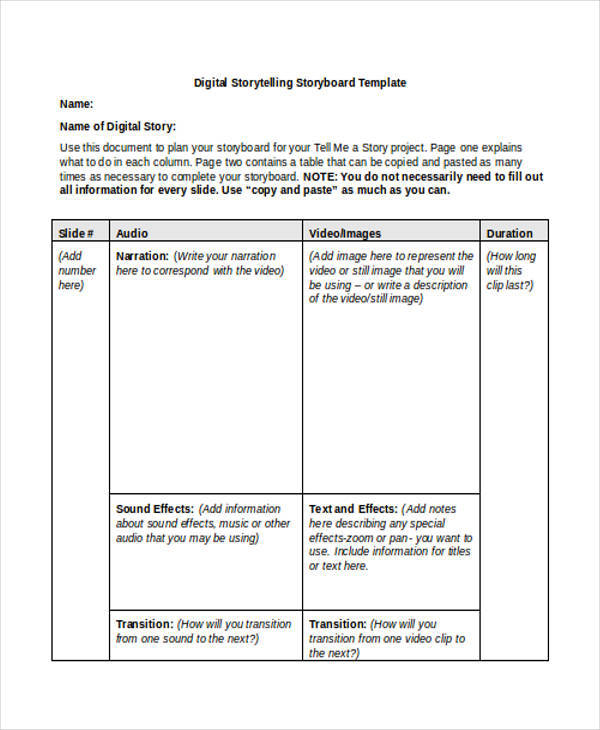 Commercial Storyboard  Examples In Word Pdf